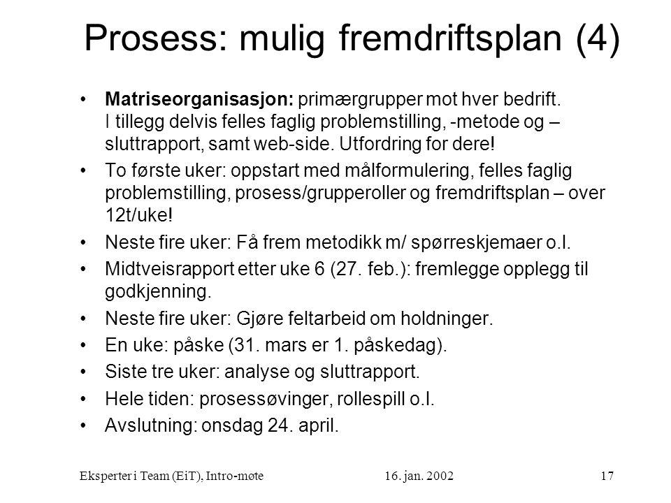 Prosess: mulig fremdriftsplan (4)
