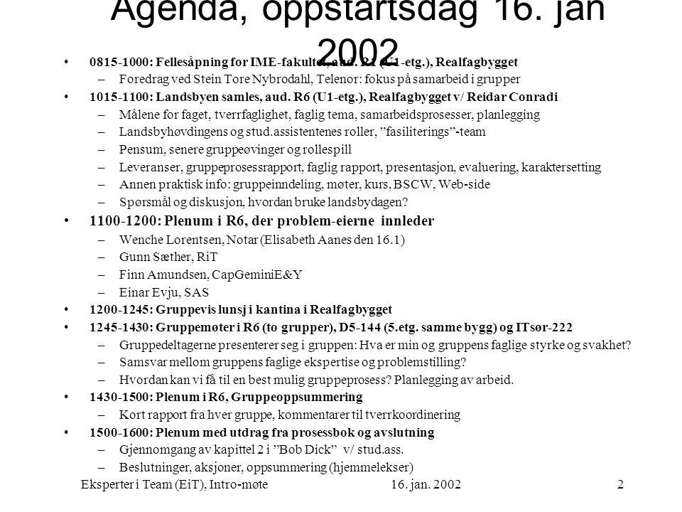 Agenda, oppstartsdag 16. jan 2002