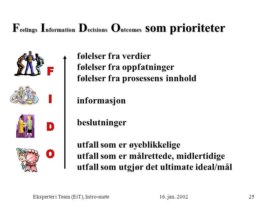 Feelings Information Decisions Outcomes som prioriteter