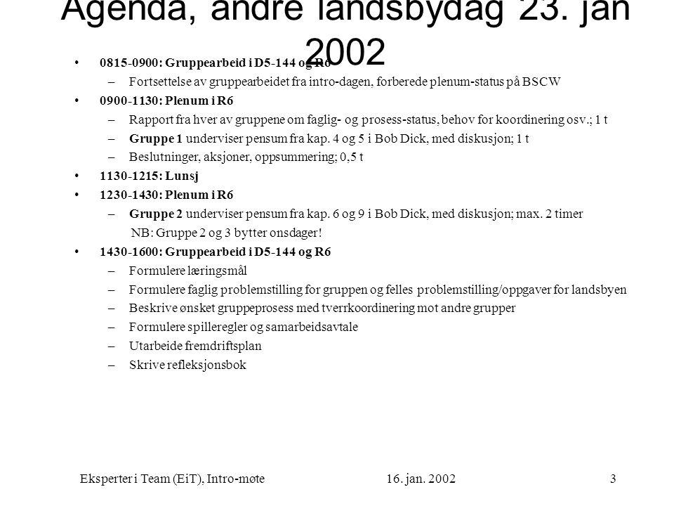 Agenda, andre landsbydag 23. jan 2002