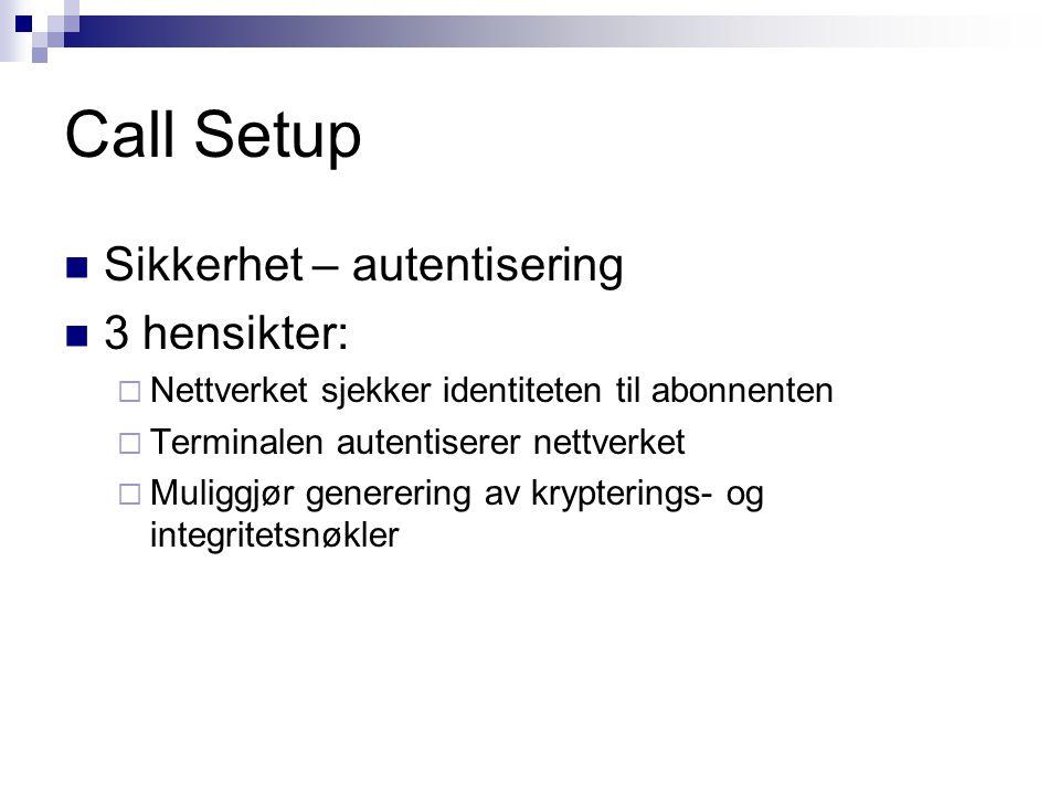 Call Setup Sikkerhet – autentisering 3 hensikter: