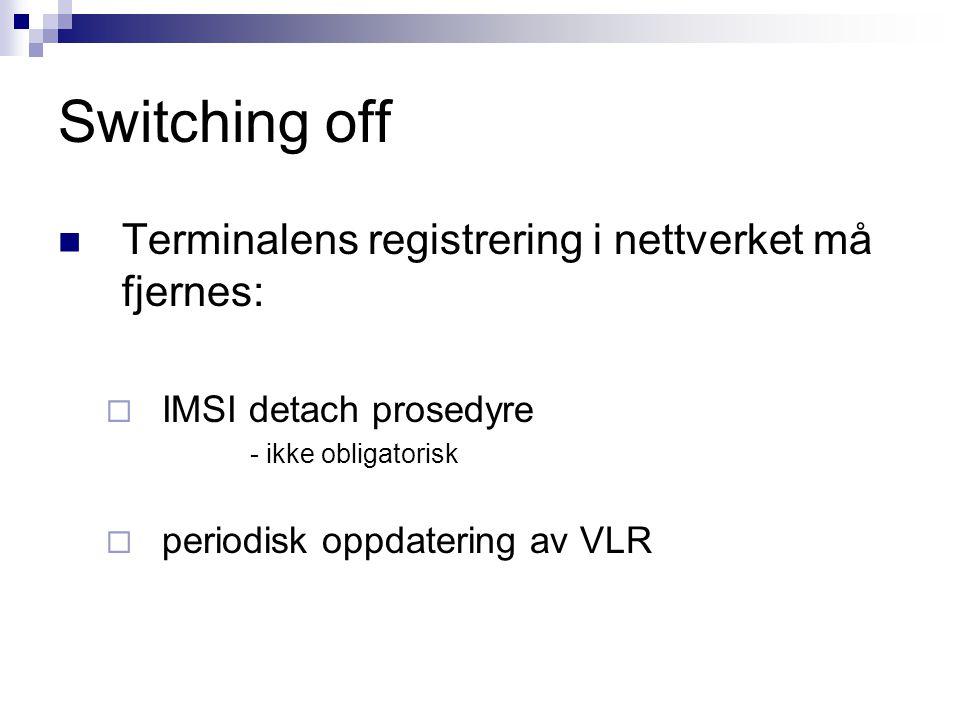 Switching off Terminalens registrering i nettverket må fjernes: