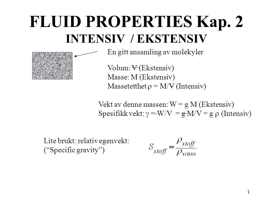 FLUID PROPERTIES Kap. 2 INTENSIV / EKSTENSIV