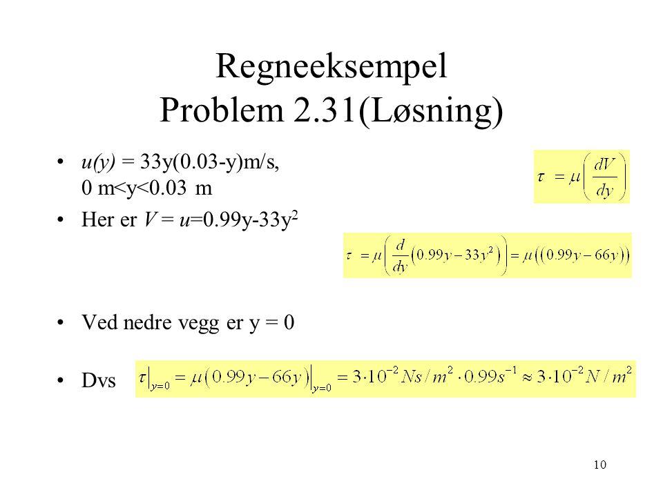 Regneeksempel Problem 2.31(Løsning)