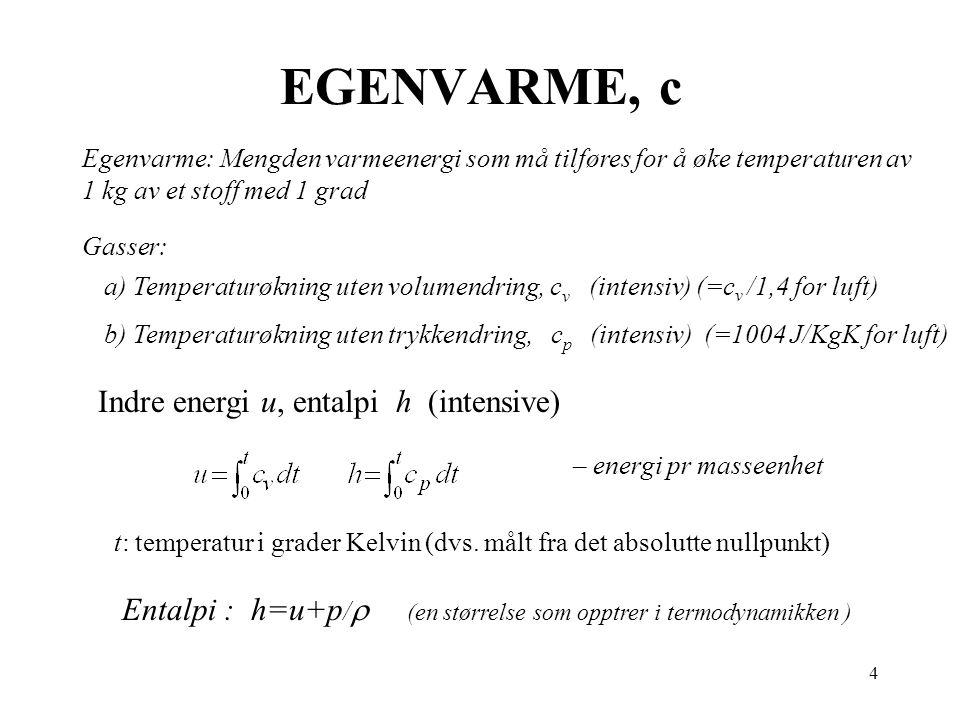 EGENVARME, c Indre energi u, entalpi h (intensive)
