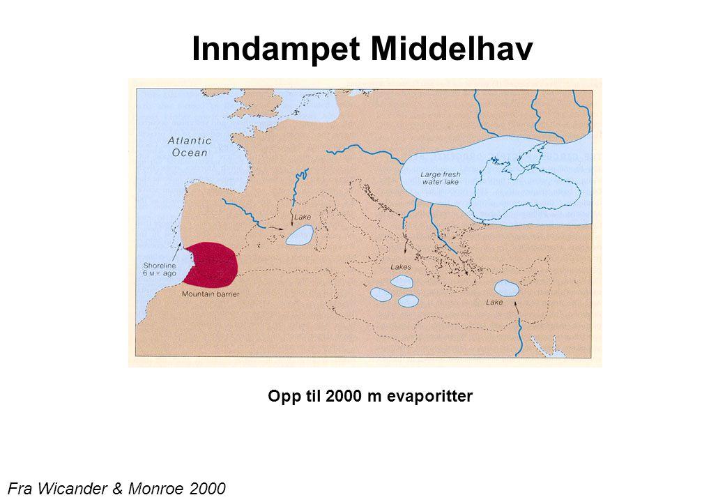 Inndampet Middelhav Opp til 2000 m evaporitter