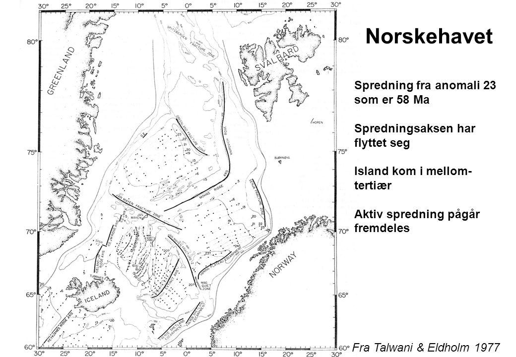 Norskehavet Spredning fra anomali 23 som er 58 Ma