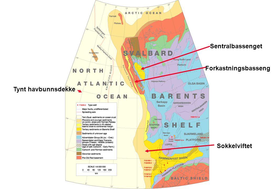 Sentralbassenget Forkastningsbasseng Tynt havbunnsdekke Sokkelviftet