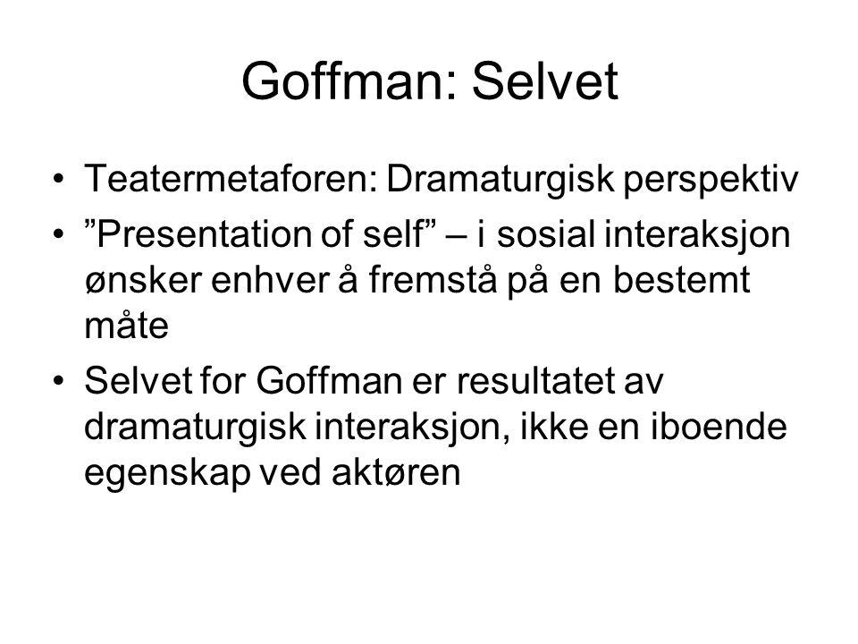Goffman: Selvet Teatermetaforen: Dramaturgisk perspektiv