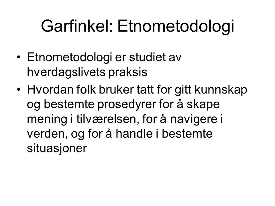 Garfinkel: Etnometodologi