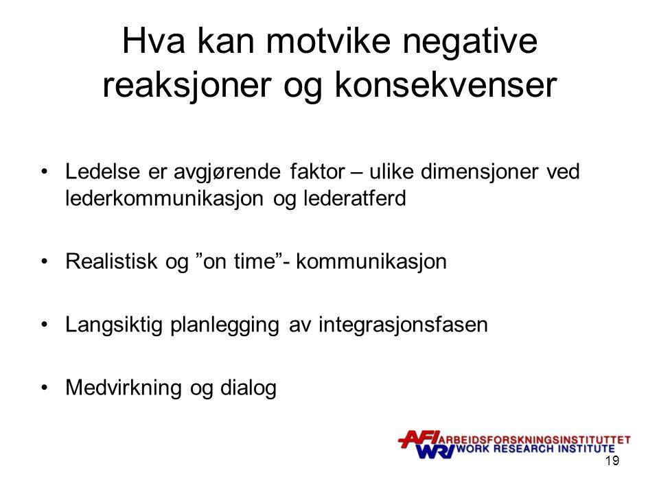 Hva kan motvike negative reaksjoner og konsekvenser