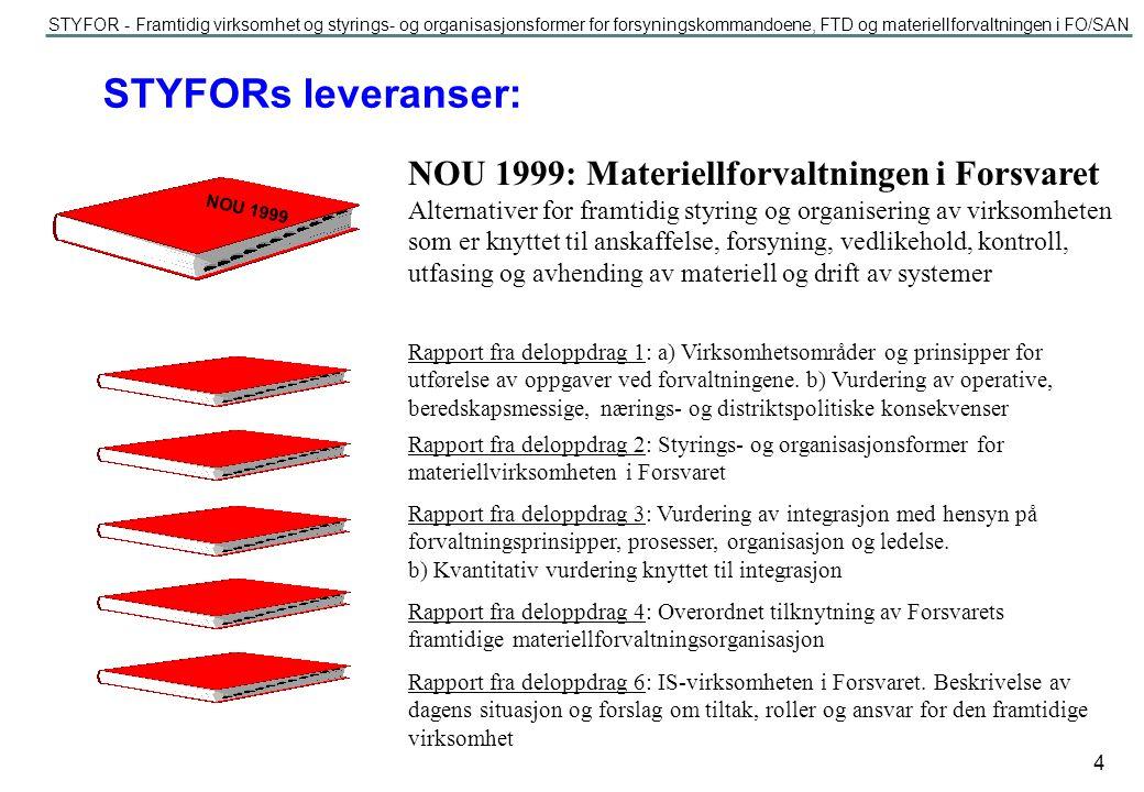 STYFORs leveranser: NOU 1999: Materiellforvaltningen i Forsvaret
