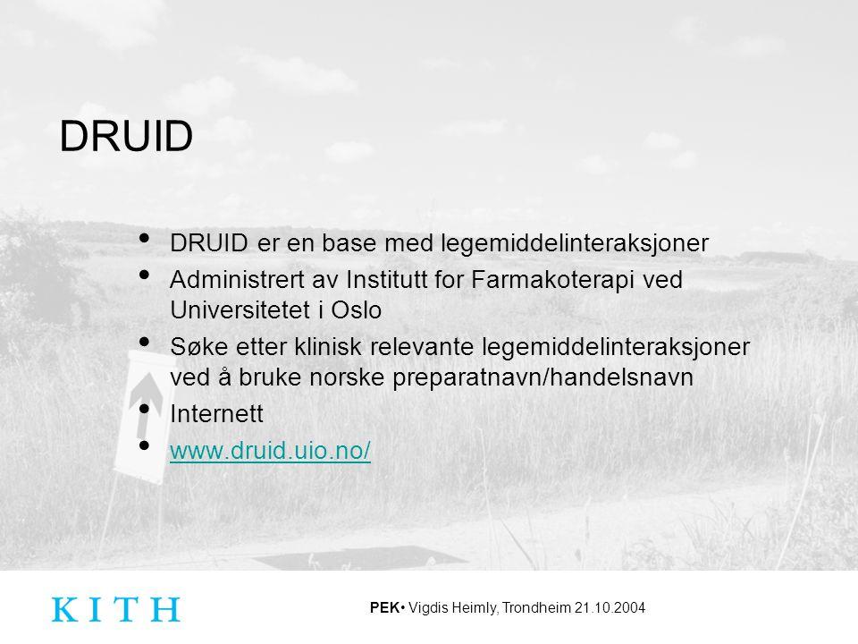 DRUID DRUID er en base med legemiddelinteraksjoner