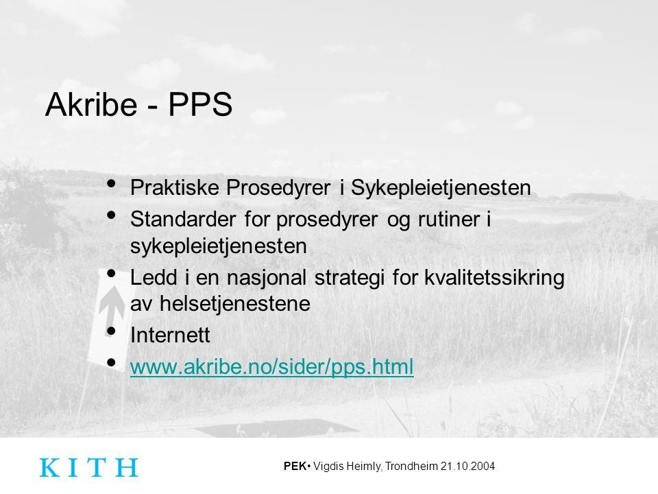 Akribe - PPS Praktiske Prosedyrer i Sykepleietjenesten. Standarder for prosedyrer og rutiner i sykepleietjenesten.