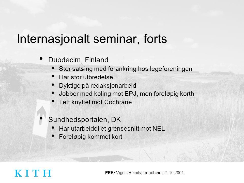 Internasjonalt seminar, forts