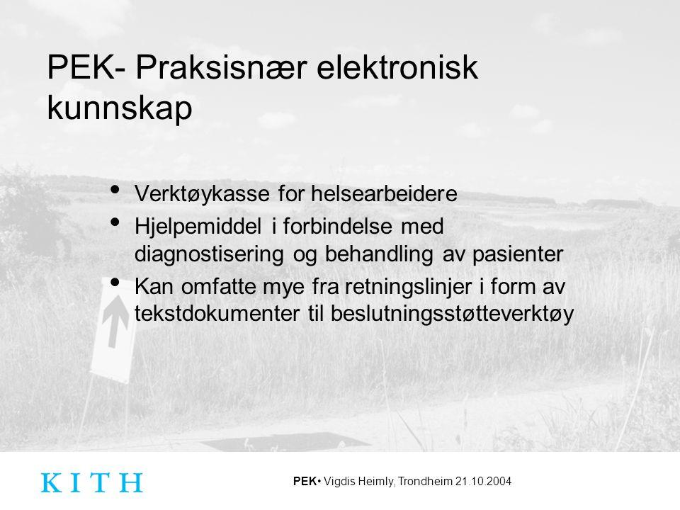 PEK- Praksisnær elektronisk kunnskap