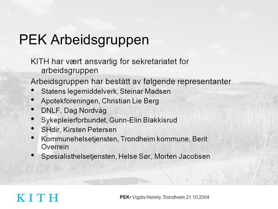 PEK Arbeidsgruppen KITH har vært ansvarlig for sekretariatet for arbeidsgruppen. Arbeidsgruppen har bestått av følgende representanter.