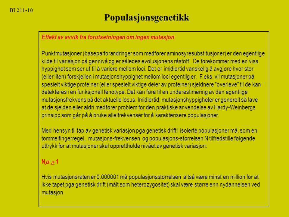 BI 211-10 Populasjonsgenetikk. Effekt av avvik fra forutsetningen om ingen mutasjon.