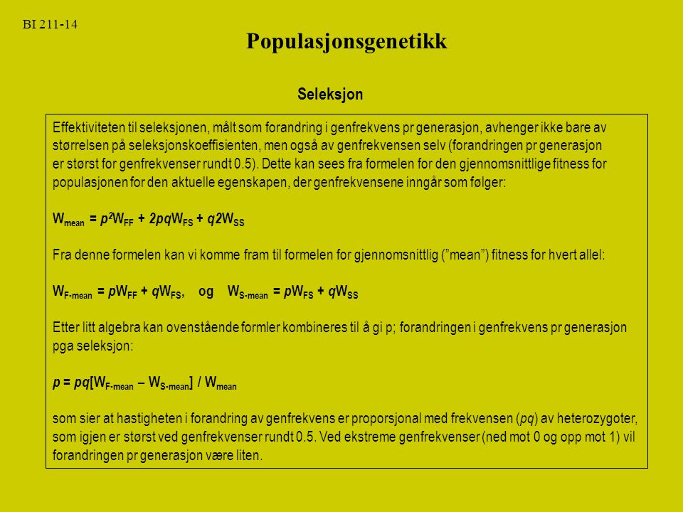 Populasjonsgenetikk Seleksjon