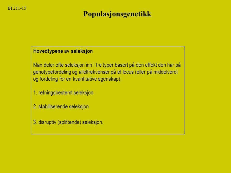 Populasjonsgenetikk Hovedtypene av seleksjon