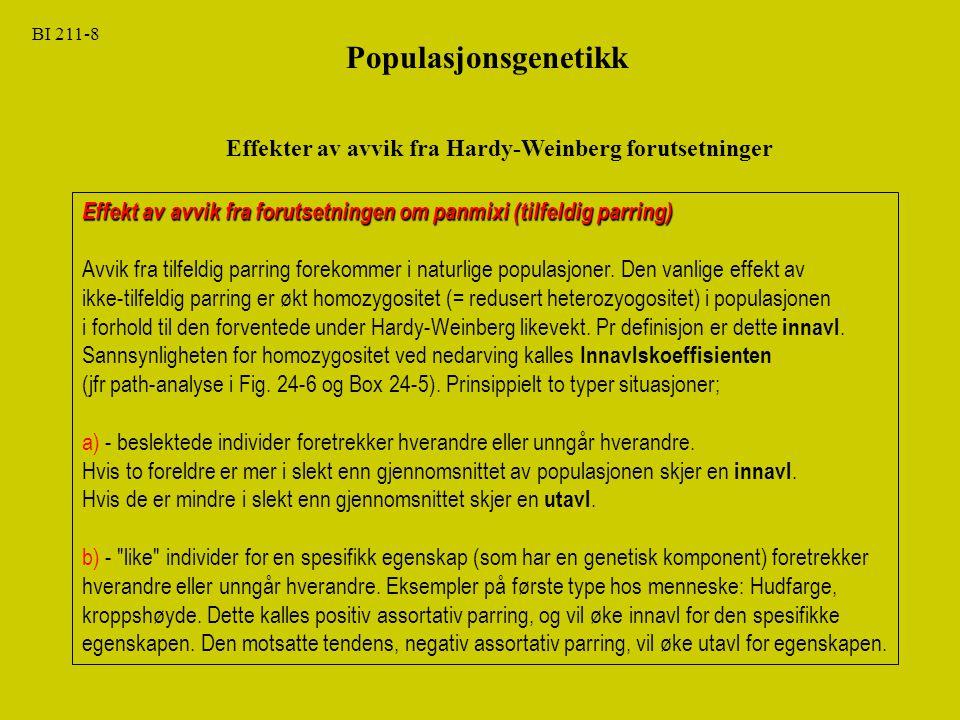 BI 211-8 Populasjonsgenetikk. Effekter av avvik fra Hardy-Weinberg forutsetninger.