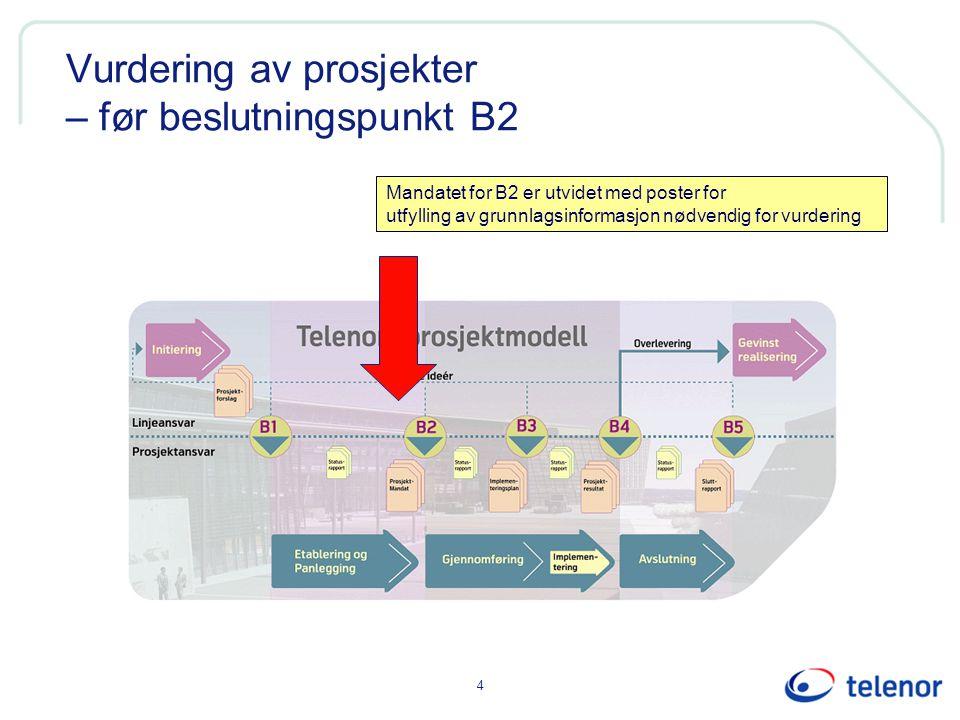 Vurdering av prosjekter – før beslutningspunkt B2