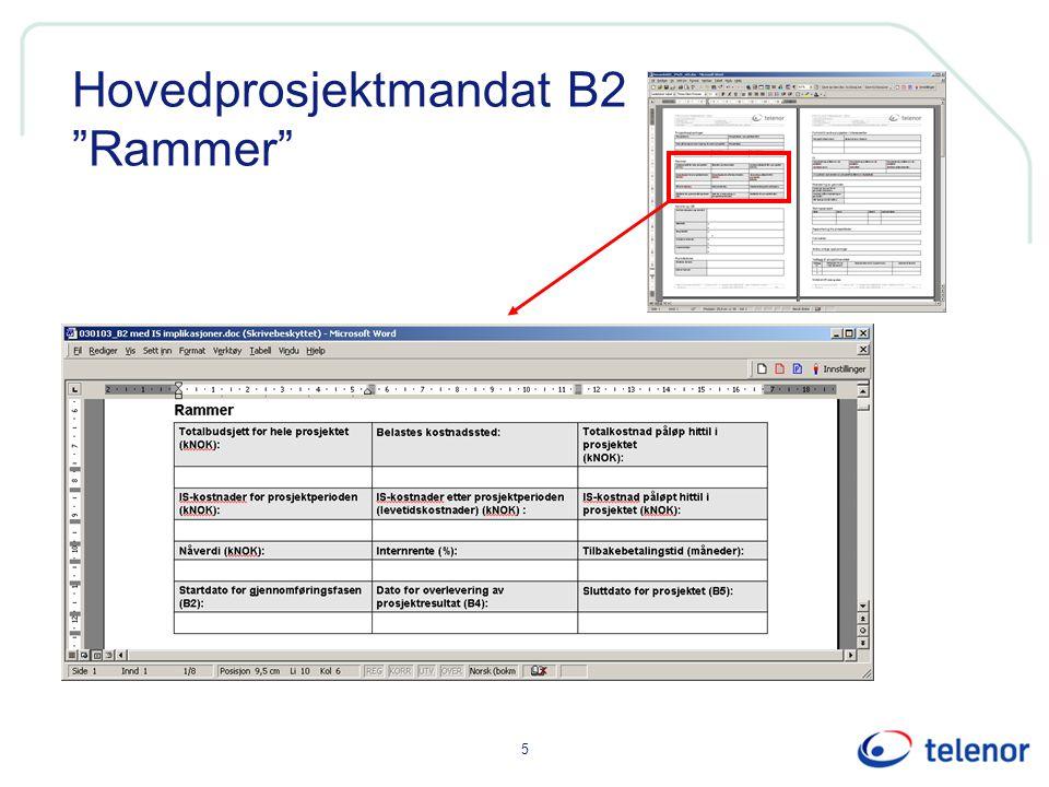 Hovedprosjektmandat B2 Rammer