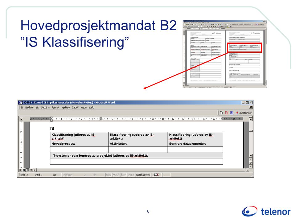 Hovedprosjektmandat B2 IS Klassifisering