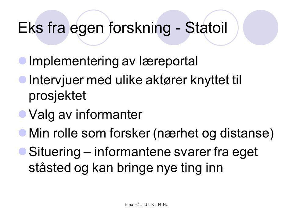 Eks fra egen forskning - Statoil