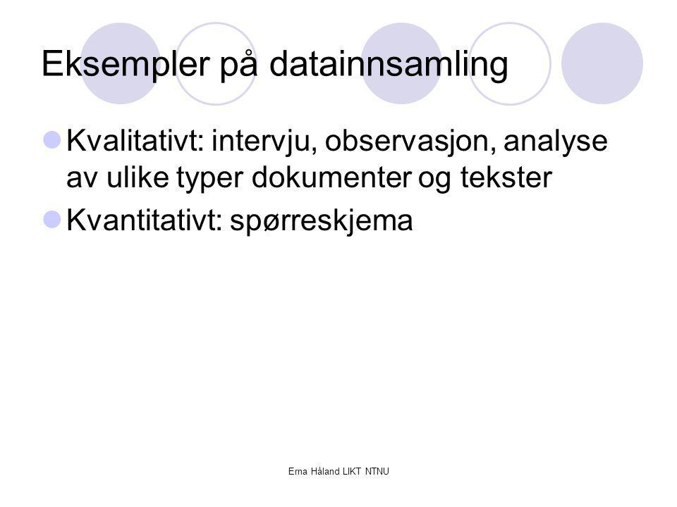 Eksempler på datainnsamling