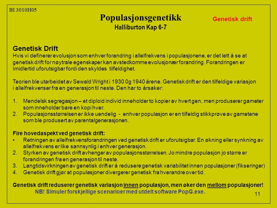 Populasjonsgenetikk Halliburton Kap 6-7 Genetisk Drift Genetisk drift