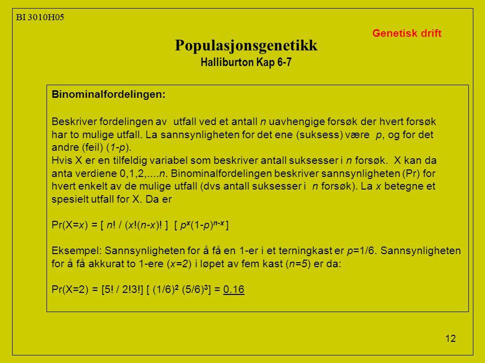 Populasjonsgenetikk Halliburton Kap 6-7 Genetisk drift