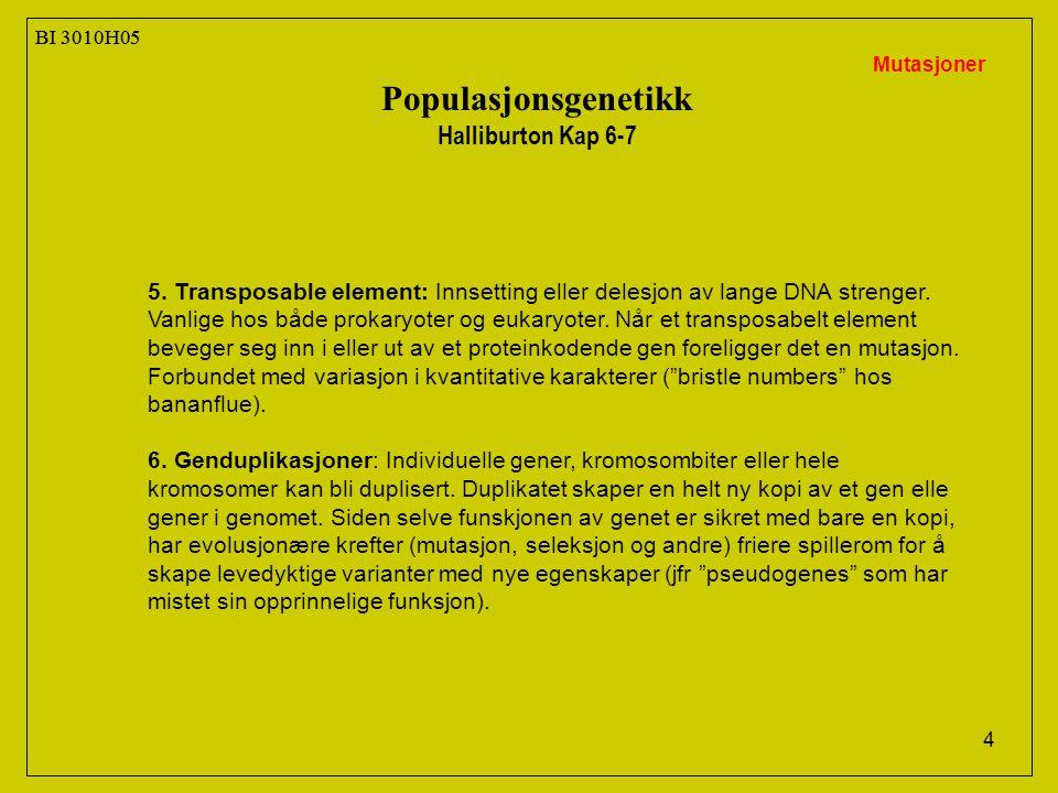 Populasjonsgenetikk Halliburton Kap 6-7