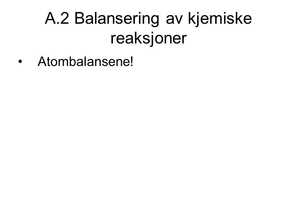 A.2 Balansering av kjemiske reaksjoner