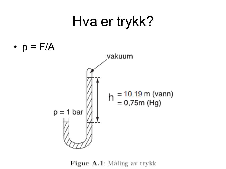 Hva er trykk p = F/A