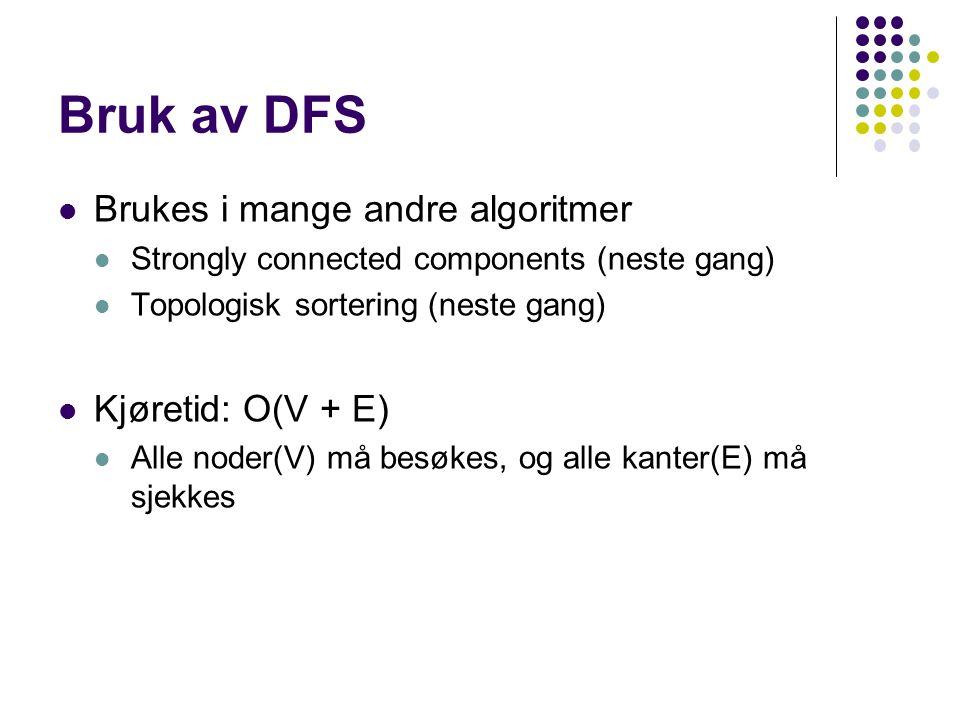 Bruk av DFS Brukes i mange andre algoritmer Kjøretid: O(V + E)