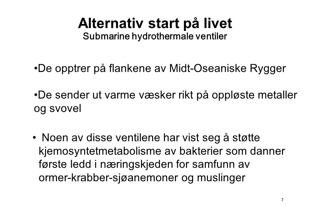 Alternativ start på livet Submarine hydrothermale ventiler