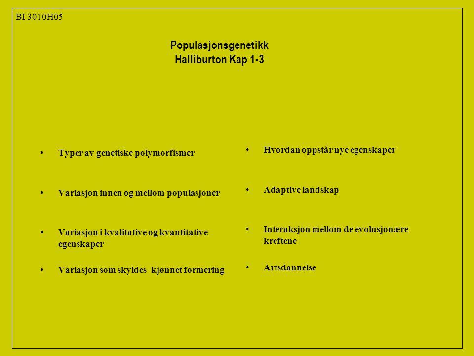 Populasjonsgenetikk Halliburton Kap 1-3