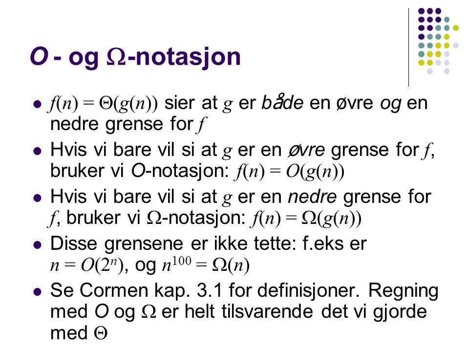 :: O - og -notasjon. f(n) = (g(n)) sier at g er både en øvre og en nedre grense for f.