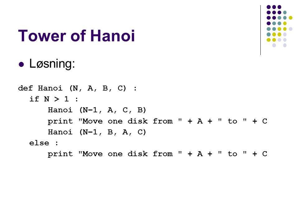 Tower of Hanoi Løsning: def Hanoi (N, A, B, C) : if N > 1 :