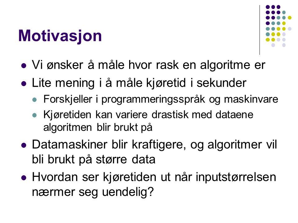 Motivasjon Vi ønsker å måle hvor rask en algoritme er