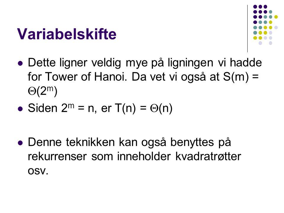 Variabelskifte Dette ligner veldig mye på ligningen vi hadde for Tower of Hanoi. Da vet vi også at S(m) = (2m)