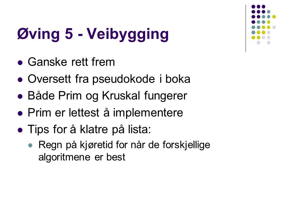 Øving 5 - Veibygging Ganske rett frem Oversett fra pseudokode i boka