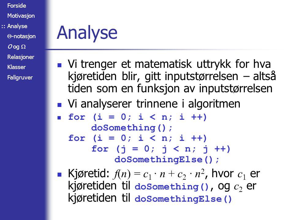 :: Analyse. Vi trenger et matematisk uttrykk for hva kjøretiden blir, gitt inputstørrelsen – altså tiden som en funksjon av inputstørrelsen.