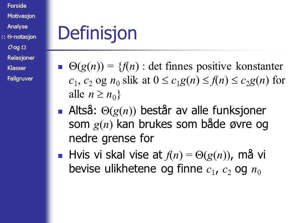 :: Definisjon. (g(n)) = {f(n) : det finnes positive konstanter c1, c2 og n0 slik at 0  c1g(n)  f(n)  c2g(n) for alle n  n0}