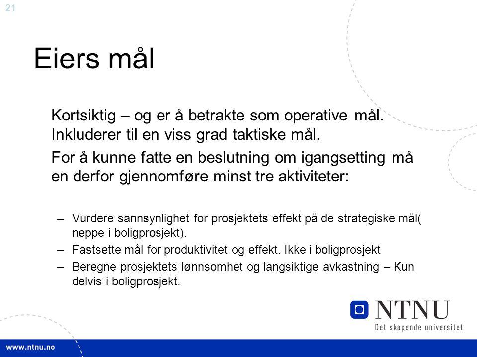 Eiers mål Kortsiktig – og er å betrakte som operative mål. Inkluderer til en viss grad taktiske mål.