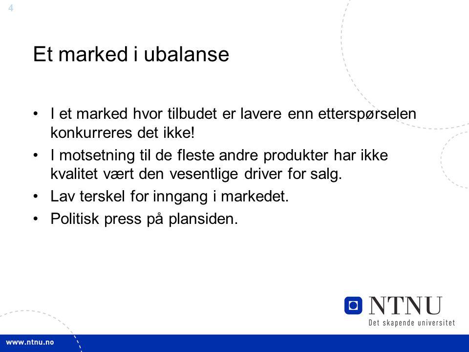 Et marked i ubalanse I et marked hvor tilbudet er lavere enn etterspørselen konkurreres det ikke!