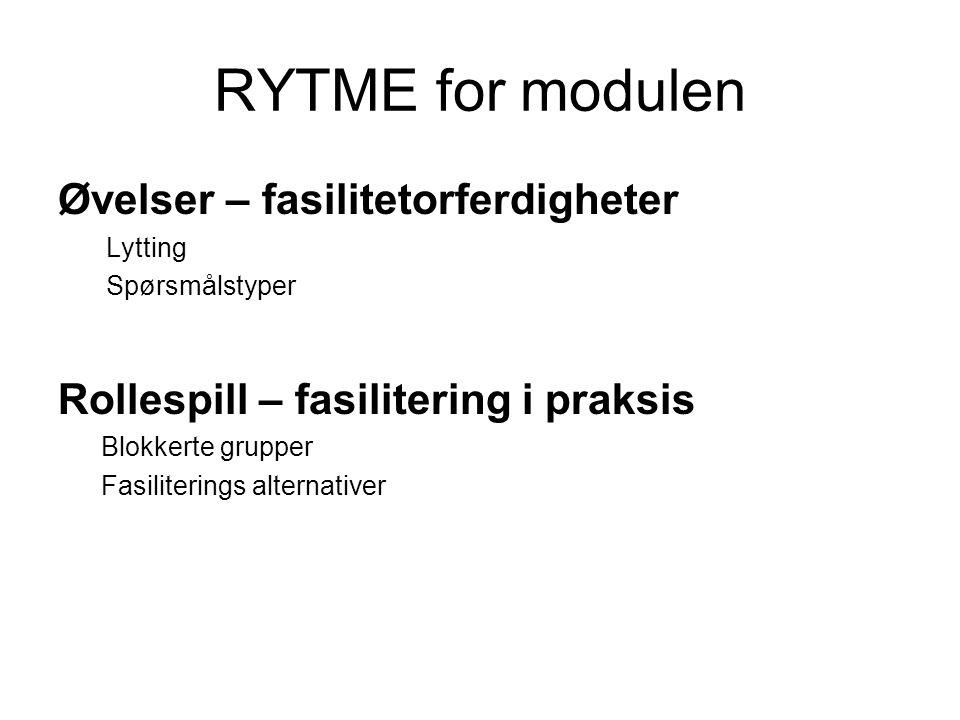 RYTME for modulen Øvelser – fasilitetorferdigheter