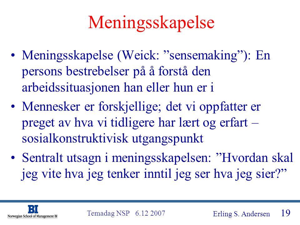 Meningsskapelse Meningsskapelse (Weick: sensemaking ): En persons bestrebelser på å forstå den arbeidssituasjonen han eller hun er i.