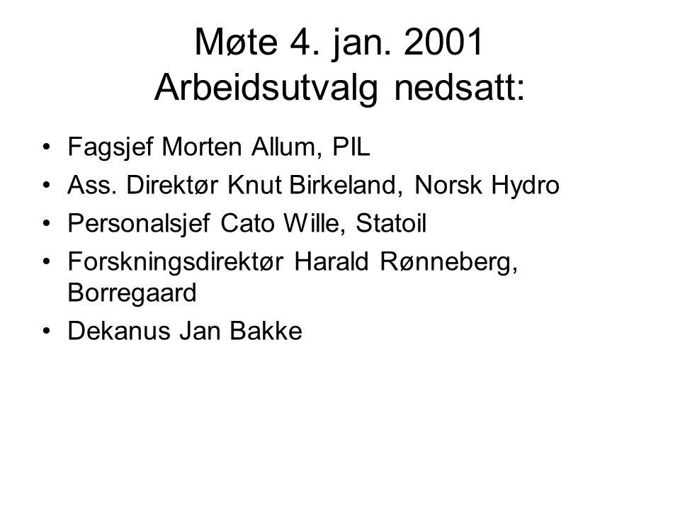 Møte 4. jan. 2001 Arbeidsutvalg nedsatt: